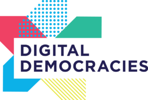 The words 'Digital Democracies' on a white background with colourful blocks layered behind like a flower.