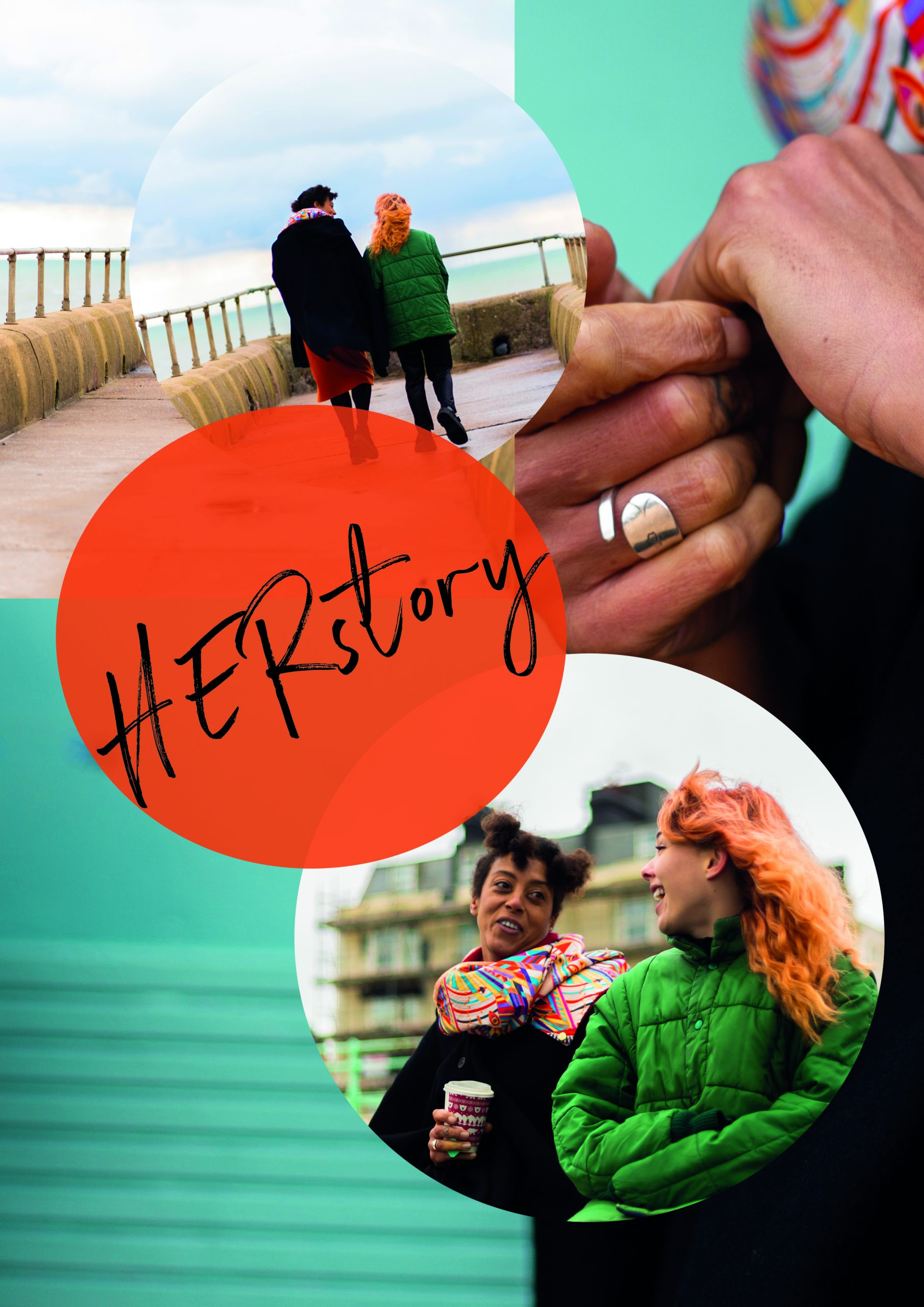 A colourful poster showing women talking and text saying Herstory